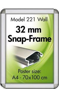 Alu Snap-Frame rondo væg 32 mm sølveloxeret