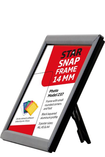 Photo Snap-Frame 14 mm med bagstøtte sort