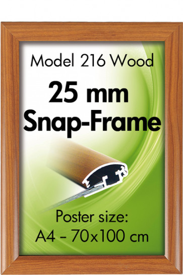 ALU SNAP FRAME 25mm (G) A2 wooden finish