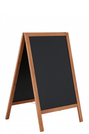 Wooden Pavement Sign with Steel Board 46x68cm - Mørk bejdset bøg