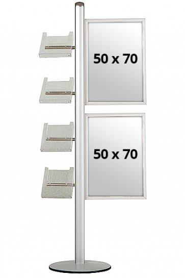 MULTISTAND 18 Enkeltsidet, 2x(50x70cm) Slide-in + 4xA4 Hylder
