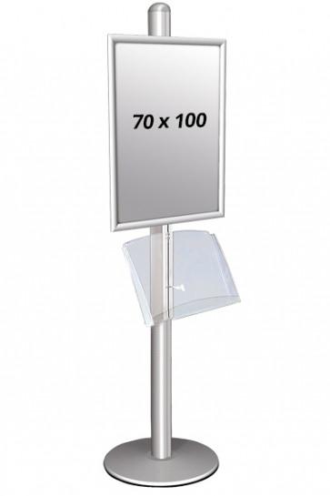 MULTISTAND 1 Enkeltsidet med akrylhylde 25 mm 1x 70 X100 Alu
