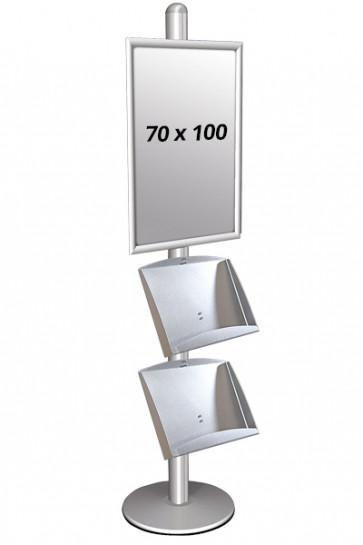 Multi Stand, enkeltsidet, med 70 x 100 cm klapramme og 2 stålhylder