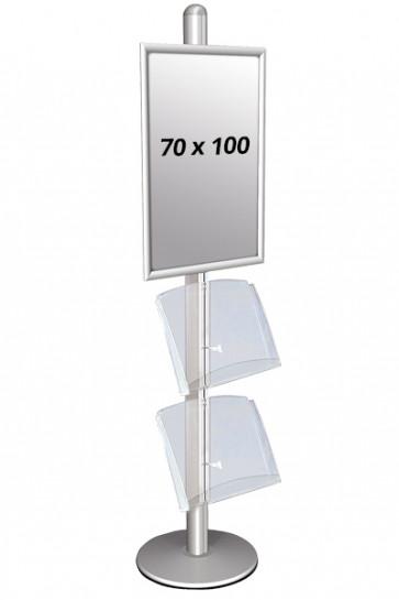 Multi Stand, enkeltsidet, med 70 x 100 cm klapramme og 2 akrylhylder