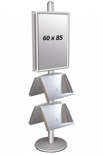 MULTISTAND 4 Dobbeltsidet med 2 stålhylder 25mm 2 x 60x85 cm Alu