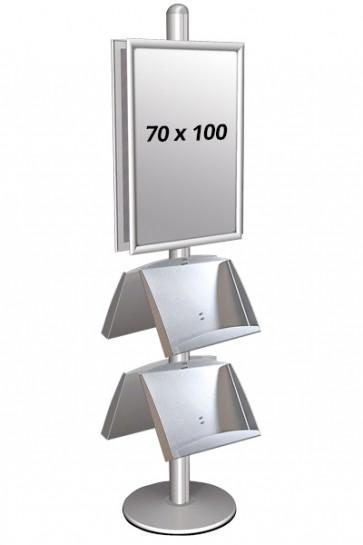 MULTISTAND 4 Dobbeltsidet med 2 stålhylder 25mm 2 x 70x100 cm Alu