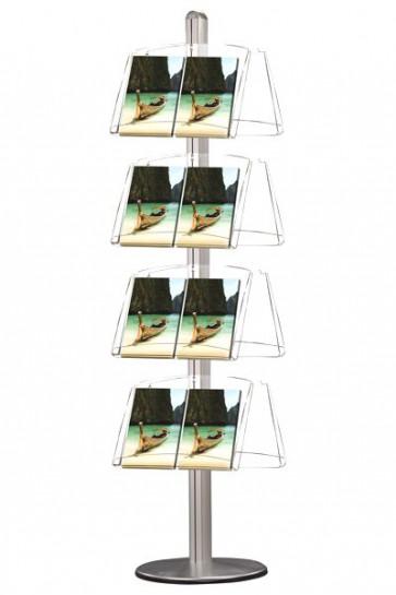 MULTISTAND 8 Dobbeltsidet 4 x akrylhylde Alu