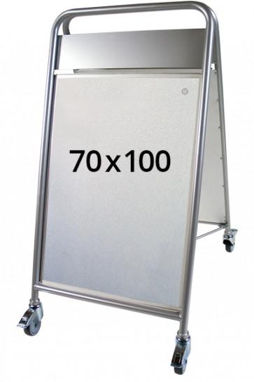 EXPO SIGN LUX gadeskilt m/HJ+OD 70x100cm sølv