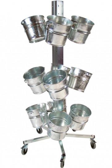 Shop Display med 12 spande sølv