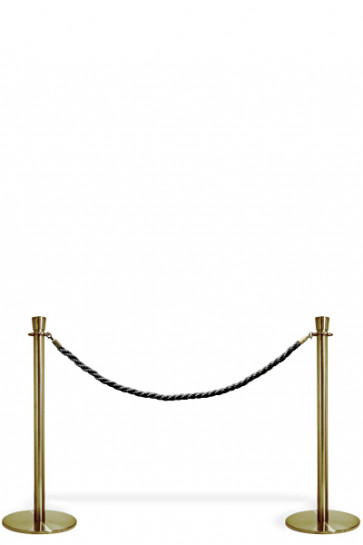 Crowd Control System, 2 poles with black rope. Gold System