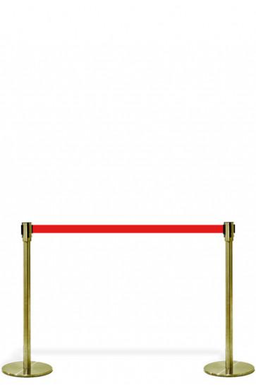 Crowd Control System, 2 standere,m/rødt bånd. Guld System