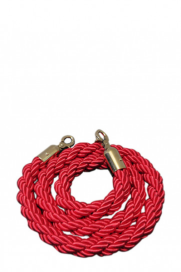 Crowd control rope,  Red.  - Gold fixing