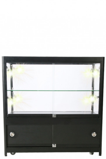 Showcase Counter, Duo, med skab.  Sort. LED