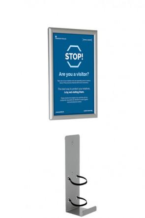 Hånd Dispenser holder samt  Alu Snap frame  A4  - Væg sæt
