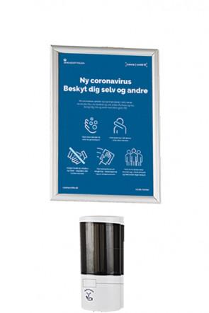 Hånd Dispenser 500 ml samt  Alu Snap frame  A4  - Væg sæt