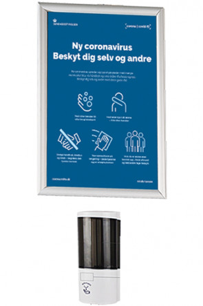 Hånd Dispenser 500 ml samt  Alu Snap frame  A3  - Væg sæt