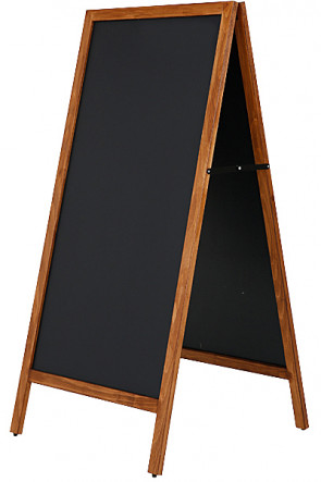 Wooden A-Board Tall with Steel Board 59x119cm - Mørk bejdset bøg
