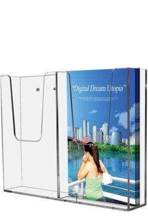 Acrylic Wall Brochureholder Double M65 klar
