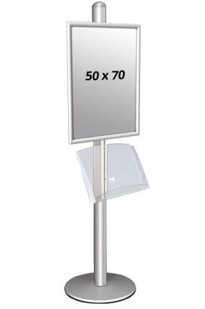 MULTISTAND 1 Enkeltsidet med akrylhylde 25 mm 1x 50x70 cm Alu