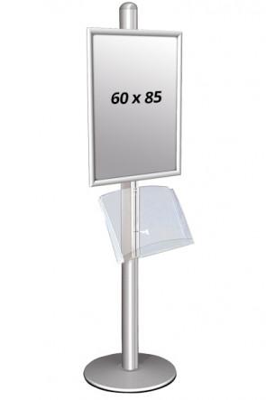 MULTISTAND 1 Enkeltsidet med akrylhylde 25mm 1 x 60x85 cm Alu
