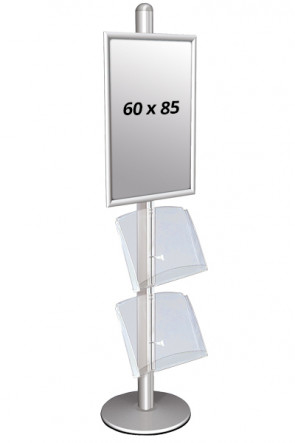 MULTISTAND 3 Enkeltsidet med 2 akrylhylder 25mm 1 x 60 x 85 cm Alu