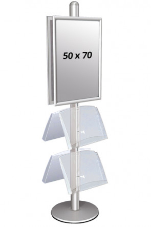 MULTISTAND 4 Dobbeltsidet med 2 akrylhylder 25mm 2 x 50x70 cm Alu