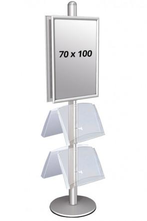 MULTISTAND 4 Dobbeltsidet med 2 akrylhylder 25mm 2 x 70x100 cm Alu