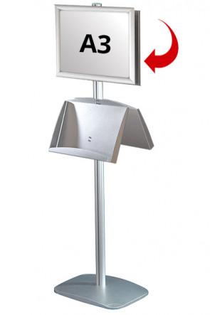 Mini Multistand 6 - Dobbeltsidet A3 Snap Frame + A3 Stål hylde