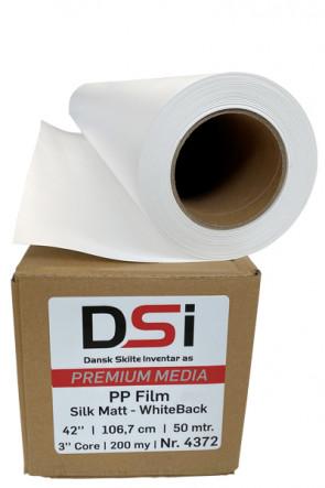 Matt hvid PP film med hvid bagside 200my 1,07x50m.= 53,5m2.