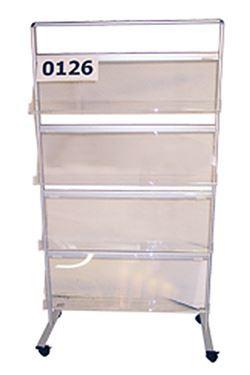 INFO-LINE brochurestativ m/hjul 4 x A4 - alu